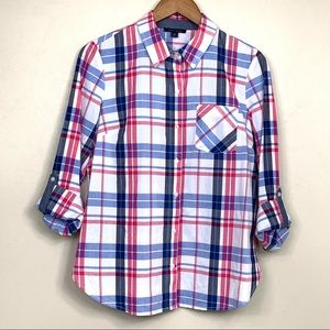 Tommy Hilfiger Plaid Button Front Shirt Size Small